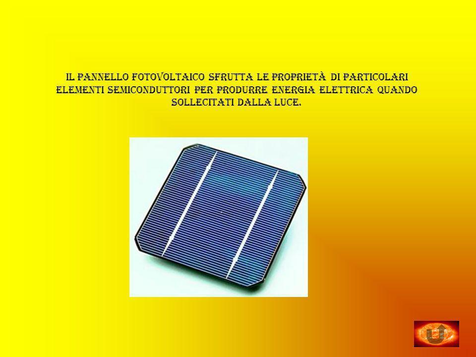 il pannello fotovoltaico sfrutta le proprietà di particolari elementi semiconduttori per produrre energia elettrica quando sollecitati dalla luce.