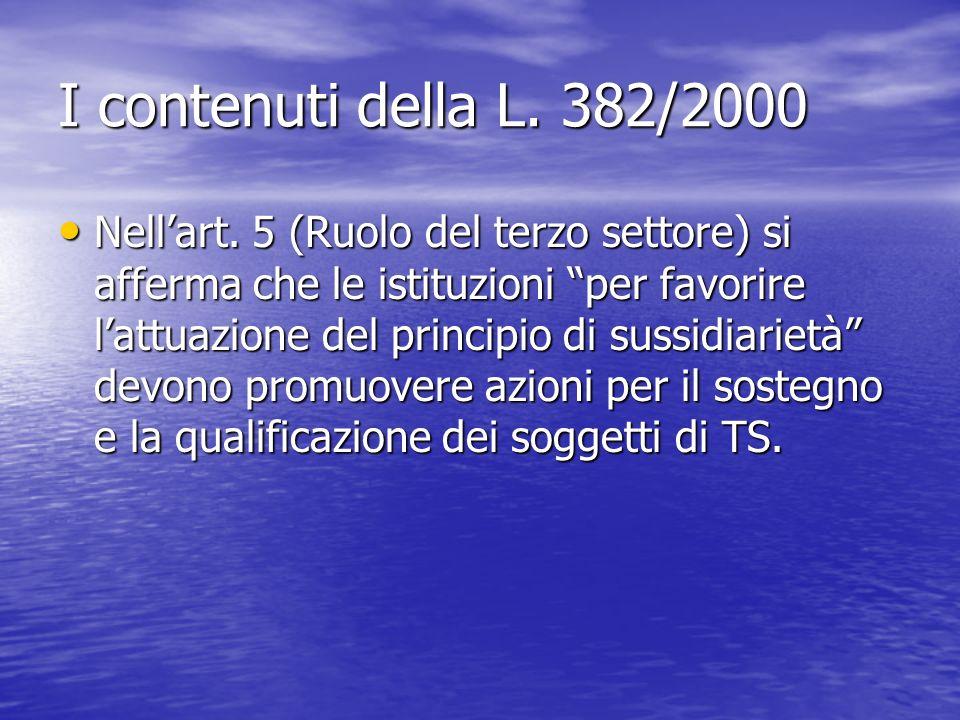 I contenuti della L. 382/2000 Nellart. 5 (Ruolo del terzo settore) si afferma che le istituzioni per favorire lattuazione del principio di sussidiarie