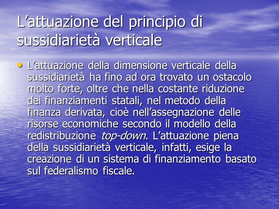 Lattuazione del principio di sussidiarietà verticale Lattuazione della dimensione verticale della sussidiarietà ha fino ad ora trovato un ostacolo mol