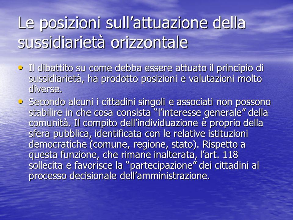 Le posizioni sullattuazione della sussidiarietà orizzontale Il dibattito su come debba essere attuato il principio di sussidiarietà, ha prodotto posiz