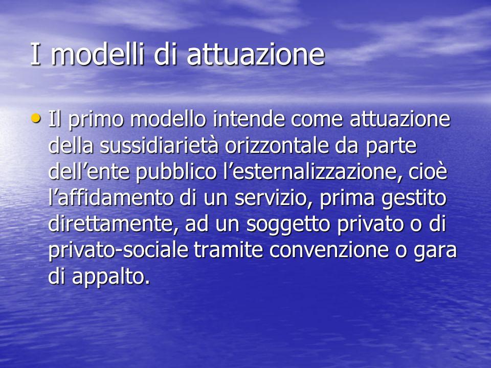 I modelli di attuazione Il primo modello intende come attuazione della sussidiarietà orizzontale da parte dellente pubblico lesternalizzazione, cioè l