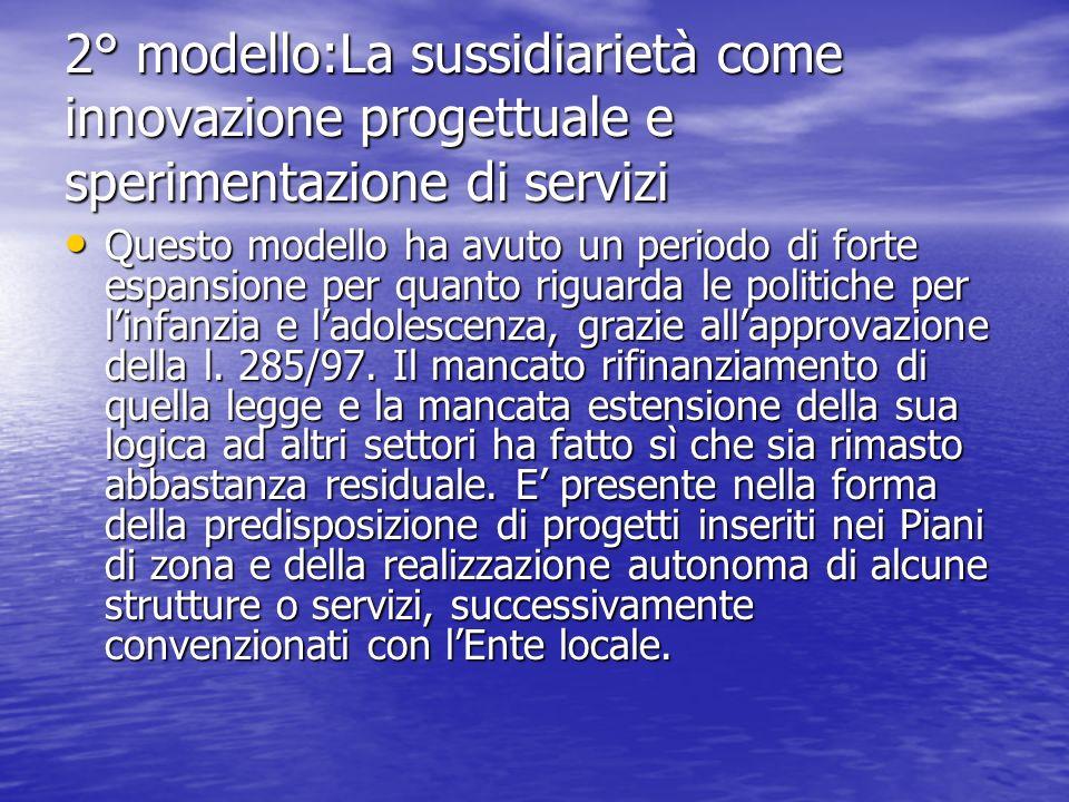 2° modello:La sussidiarietà come innovazione progettuale e sperimentazione di servizi Questo modello ha avuto un periodo di forte espansione per quant