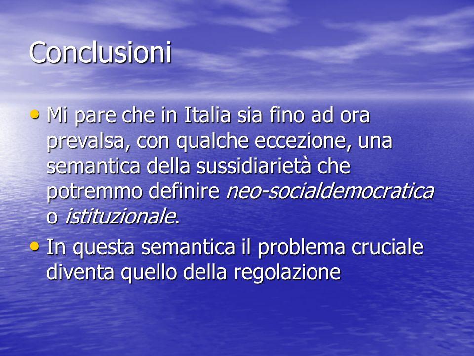 Conclusioni Mi pare che in Italia sia fino ad ora prevalsa, con qualche eccezione, una semantica della sussidiarietà che potremmo definire neo-sociald