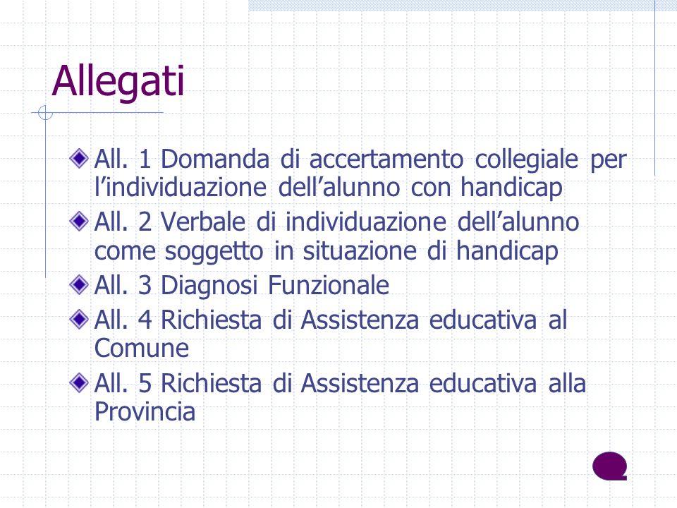 Allegati All. 1 Domanda di accertamento collegiale per lindividuazione dellalunno con handicap All.