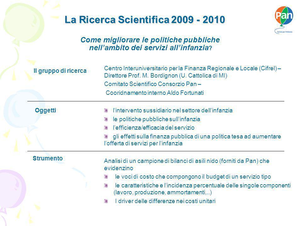 La Ricerca Scientifica 2009 - 2010 La Ricerca Scientifica 2009 - 2010 Firenze, 07 maggio 2007 Analisi di un campione di bilanci di asili nido (forniti