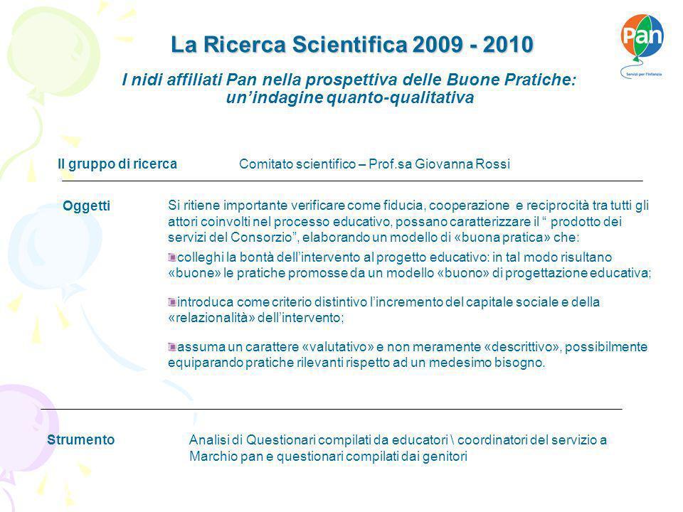 La Ricerca Scientifica 2009 - 2010 Firenze, 07 maggio 2007 Si ritiene importante verificare come fiducia, cooperazione e reciprocità tra tutti gli att