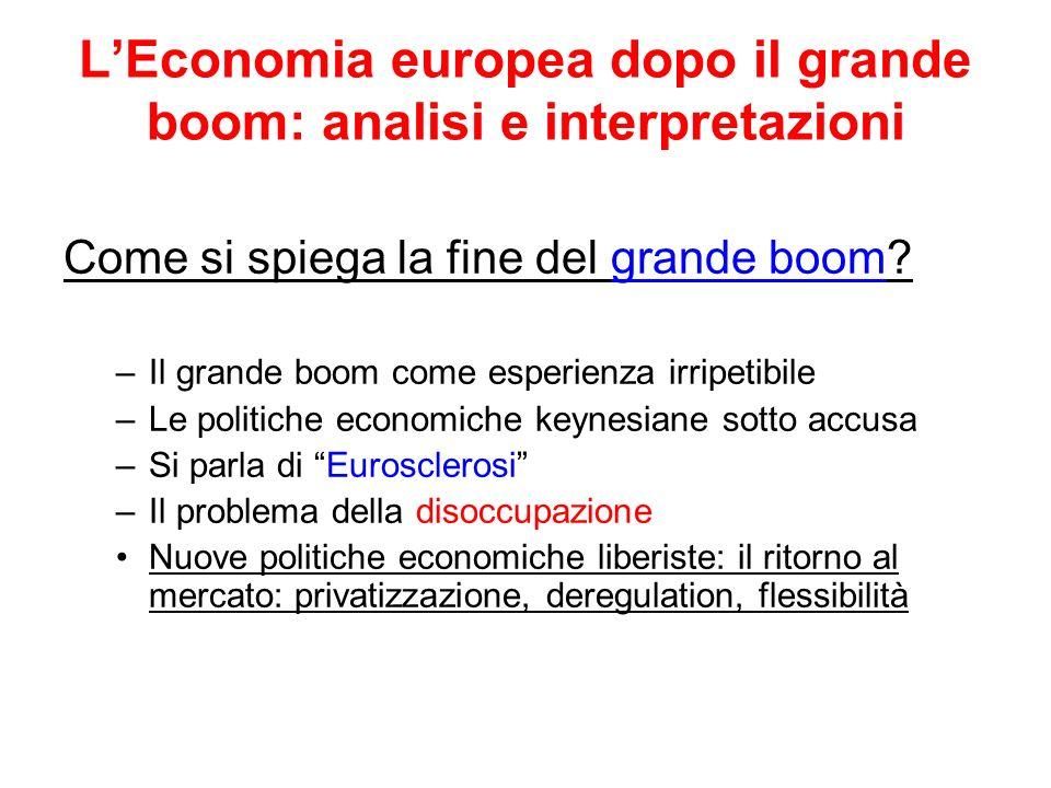 LEconomia europea dopo il grande boom: analisi e interpretazioni Come si spiega la fine del grande boom? –Il grande boom come esperienza irripetibile