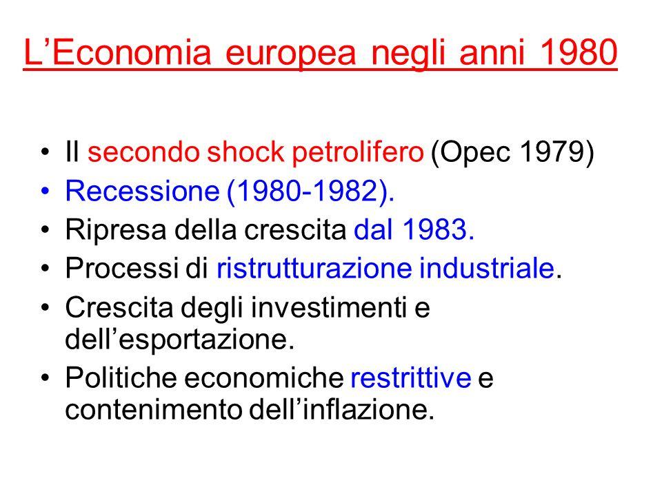 LEconomia europea negli anni 1980 Il secondo shock petrolifero (Opec 1979) Recessione (1980-1982). Ripresa della crescita dal 1983. Processi di ristru