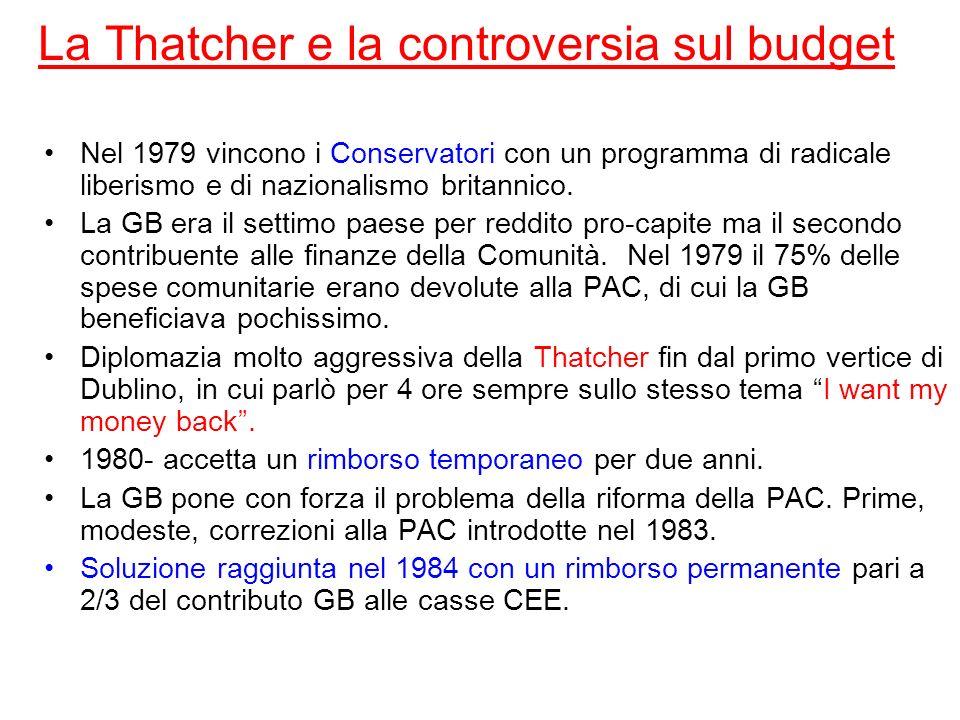 La Thatcher e la controversia sul budget Nel 1979 vincono i Conservatori con un programma di radicale liberismo e di nazionalismo britannico. La GB er