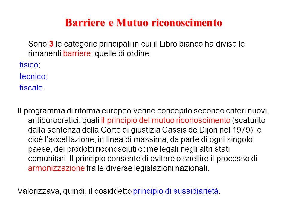 Barriere e Mutuo riconoscimento Sono 3 le categorie principali in cui il Libro bianco ha diviso le rimanenti barriere: quelle di ordine fisico; tecnic