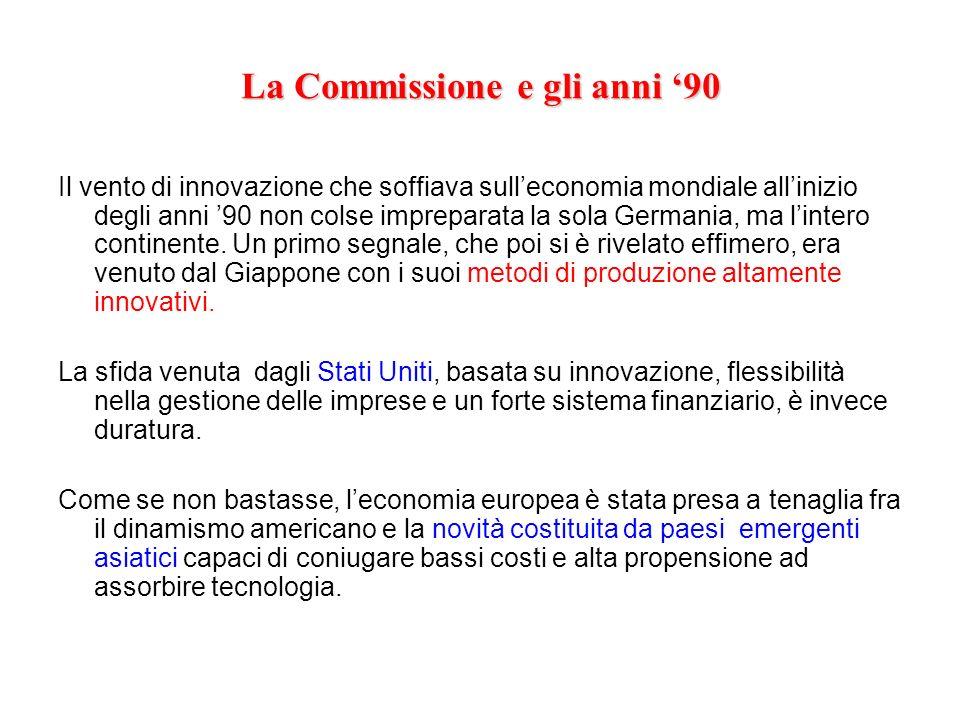 La Commissione e gli anni 90 Il vento di innovazione che soffiava sulleconomia mondiale allinizio degli anni 90 non colse impreparata la sola Germania