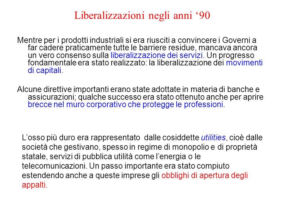 Liberalizzazioni negli anni 90 Mentre per i prodotti industriali si era riusciti a convincere i Governi a far cadere praticamente tutte le barriere re