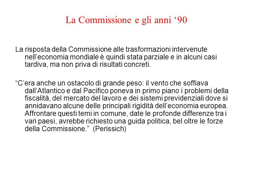 La Commissione e gli anni 90 La risposta della Commissione alle trasformazioni intervenute nelleconomia mondiale è quindi stata parziale e in alcuni c