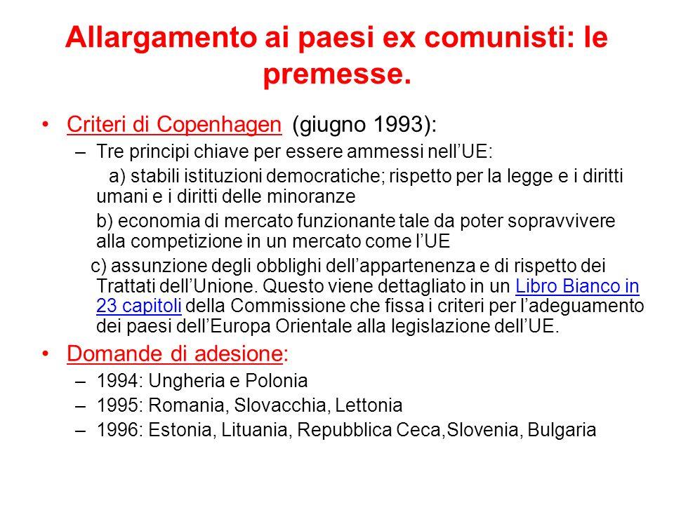 Allargamento ai paesi ex comunisti: le premesse. Criteri di Copenhagen (giugno 1993): –Tre principi chiave per essere ammessi nellUE: a) stabili istit