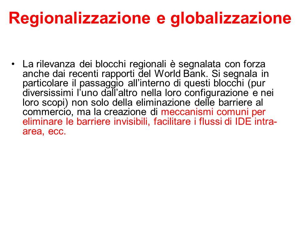 Regionalizzazione e globalizzazione La rilevanza dei blocchi regionali è segnalata con forza anche dai recenti rapporti del World Bank. Si segnala in