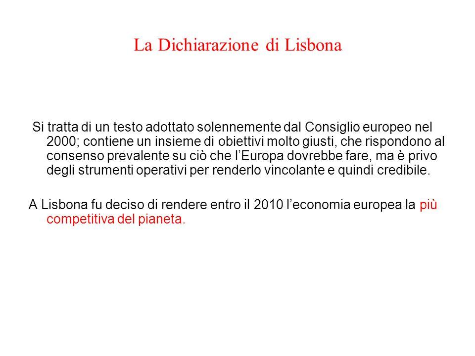La Dichiarazione di Lisbona Si tratta di un testo adottato solennemente dal Consiglio europeo nel 2000; contiene un insieme di obiettivi molto giusti,