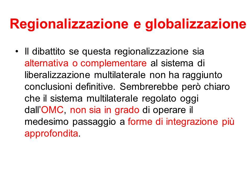 Regionalizzazione e globalizzazione Il dibattito se questa regionalizzazione sia alternativa o complementare al sistema di liberalizzazione multilater