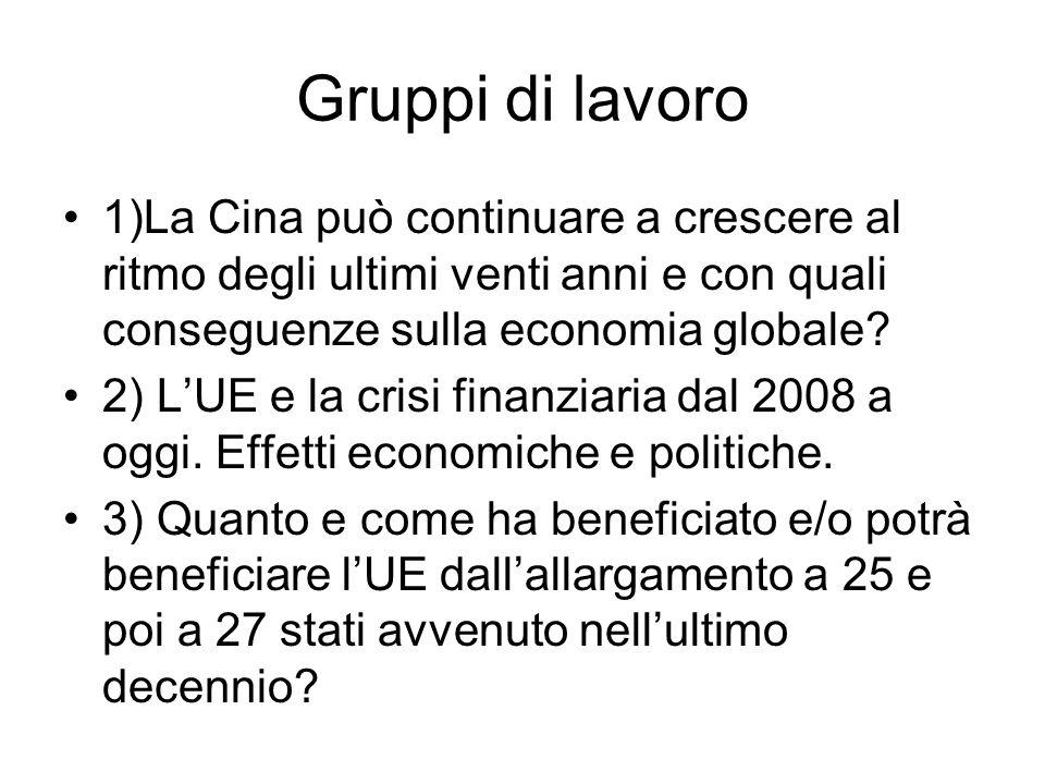 Gruppi di lavoro 1)La Cina può continuare a crescere al ritmo degli ultimi venti anni e con quali conseguenze sulla economia globale? 2) LUE e la cris