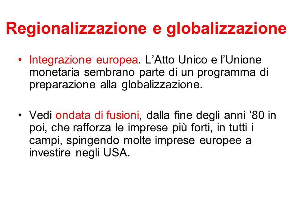 Regionalizzazione e globalizzazione Integrazione europea. LAtto Unico e lUnione monetaria sembrano parte di un programma di preparazione alla globaliz