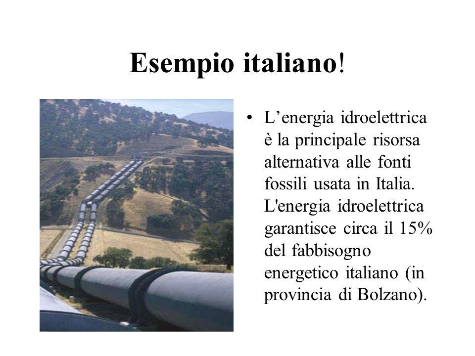 Esempio italiano! Lenergia idroelettrica è la principale risorsa alternativa alle fonti fossili usata in Italia. L'energia idroelettrica garantisce ci