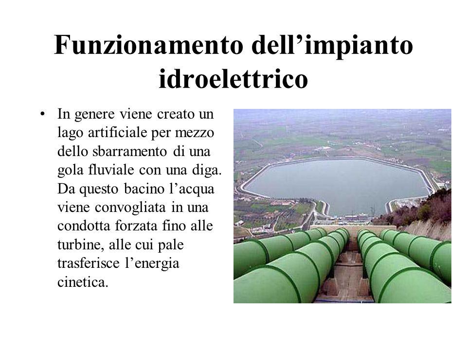 Funzionamento dellimpianto idroelettrico In genere viene creato un lago artificiale per mezzo dello sbarramento di una gola fluviale con una diga. Da