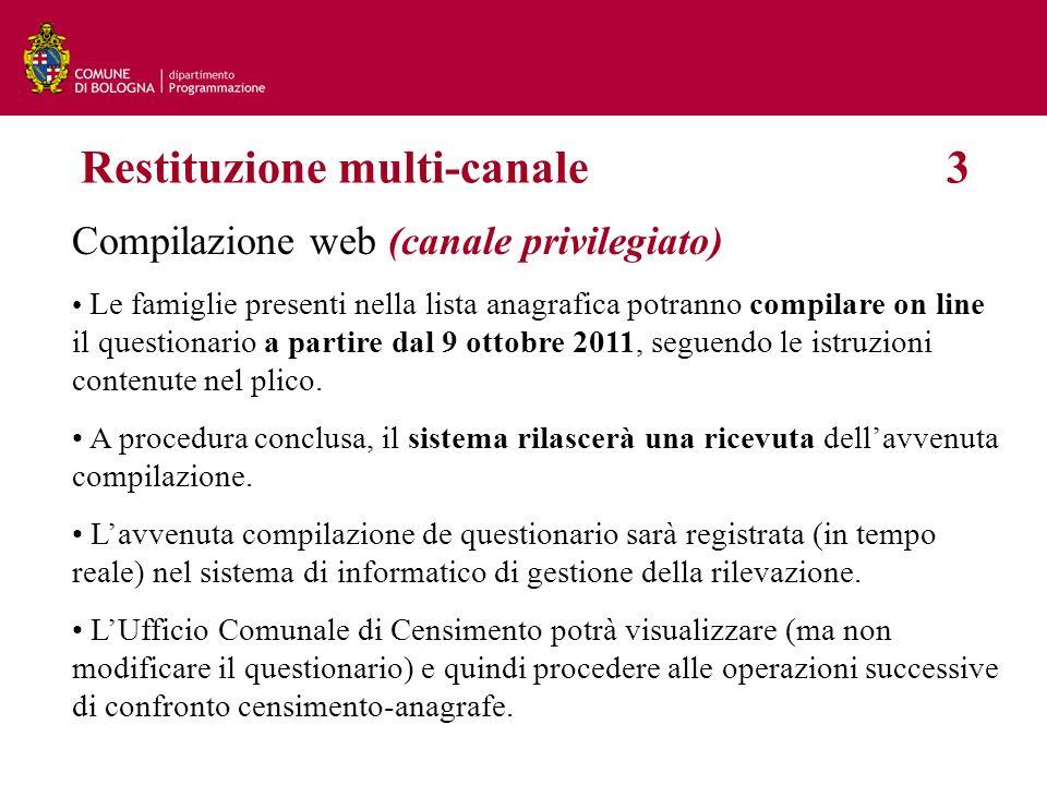 Compilazione web (canale privilegiato) Le famiglie presenti nella lista anagrafica potranno compilare on line il questionario a partire dal 9 ottobre 2011, seguendo le istruzioni contenute nel plico.