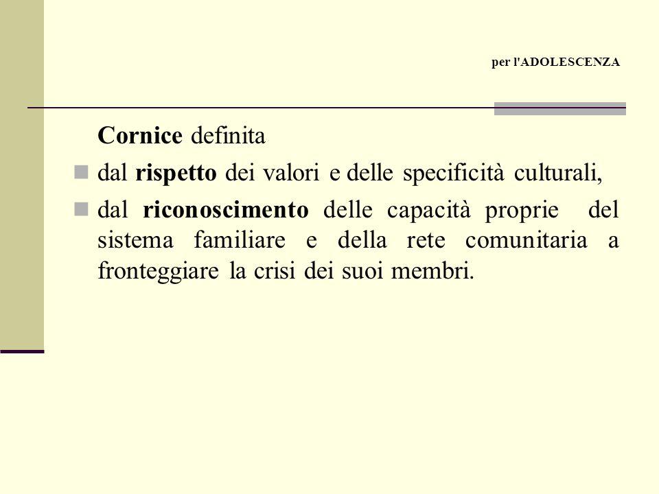 Cornice definita dal rispetto dei valori e delle specificità culturali, dal riconoscimento delle capacità proprie del sistema familiare e della rete comunitaria a fronteggiare la crisi dei suoi membri.