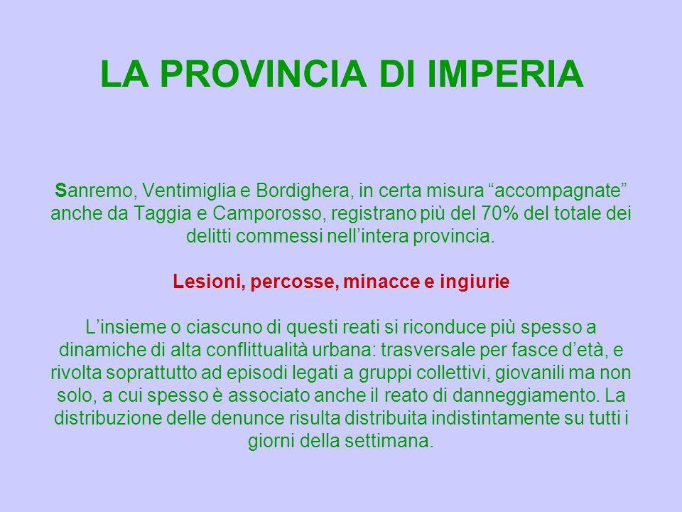 Sanremo, Ventimiglia e Bordighera, in certa misura accompagnate anche da Taggia e Camporosso, registrano più del 70% del totale dei delitti commessi nellintera provincia.