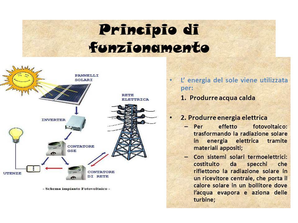Principio di funzionamento L energia del sole viene utilizzata per: 1. Produrre acqua calda 2. Produrre energia elettrica – Per effetto fotovoltaico: