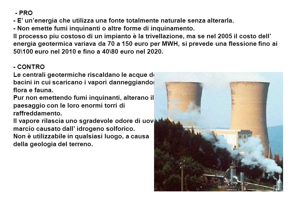 - PRO - E unenergia che utilizza una fonte totalmente naturale senza alterarla. - Non emette fumi inquinanti o altre forme di inquinamento. Il process