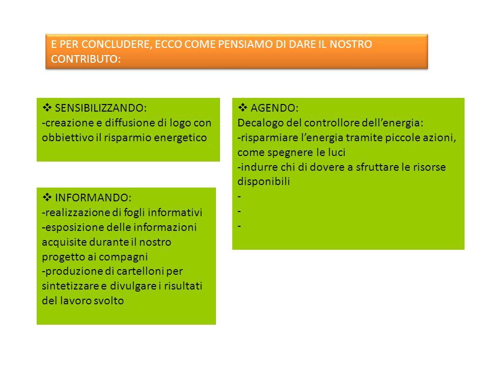 E PER CONCLUDERE, ECCO COME PENSIAMO DI DARE IL NOSTRO CONTRIBUTO: INFORMANDO: -realizzazione di fogli informativi -esposizione delle informazioni acq