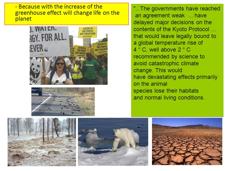 - Because with the increase of the greenhouse effect will change life on the planet