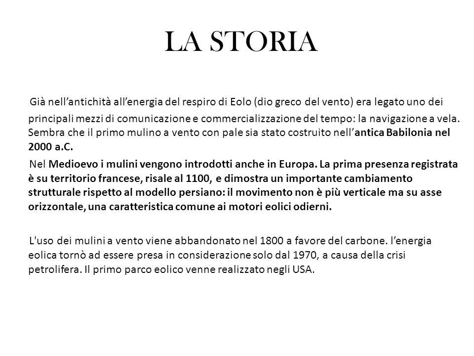 LENERGIA EOLICA IN ITALIA E NEL MONDO Attualmente linstallazione di centrali eoliche attraversa tuttora una fase ancora sperimentale e si prevede di poter raggiungere una potenza installata di almeno 2000 MW.