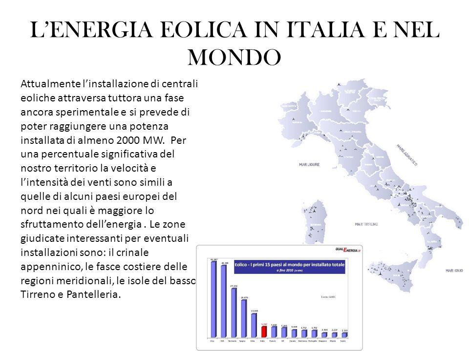 LENERGIA EOLICA IN ITALIA E NEL MONDO Attualmente linstallazione di centrali eoliche attraversa tuttora una fase ancora sperimentale e si prevede di p
