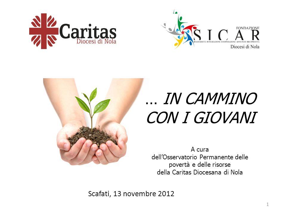 Scafati, 13 novembre 2012 1 … IN CAMMINO CON I GIOVANI A cura dellOsservatorio Permanente delle povertà e delle risorse della Caritas Diocesana di Nola