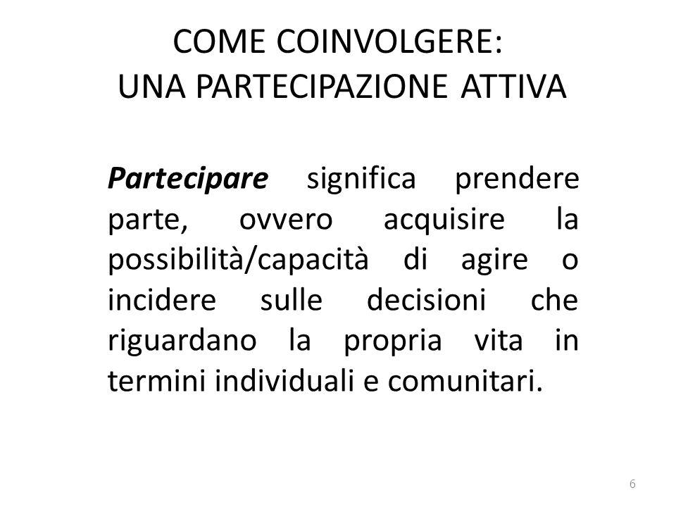 COME COINVOLGERE: UNA PARTECIPAZIONE ATTIVA 6 Partecipare significa prendere parte, ovvero acquisire la possibilità/capacità di agire o incidere sulle decisioni che riguardano la propria vita in termini individuali e comunitari.