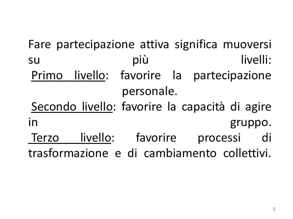 8 Fare partecipazione attiva significa muoversi su più livelli: Primo livello: favorire la partecipazione personale.