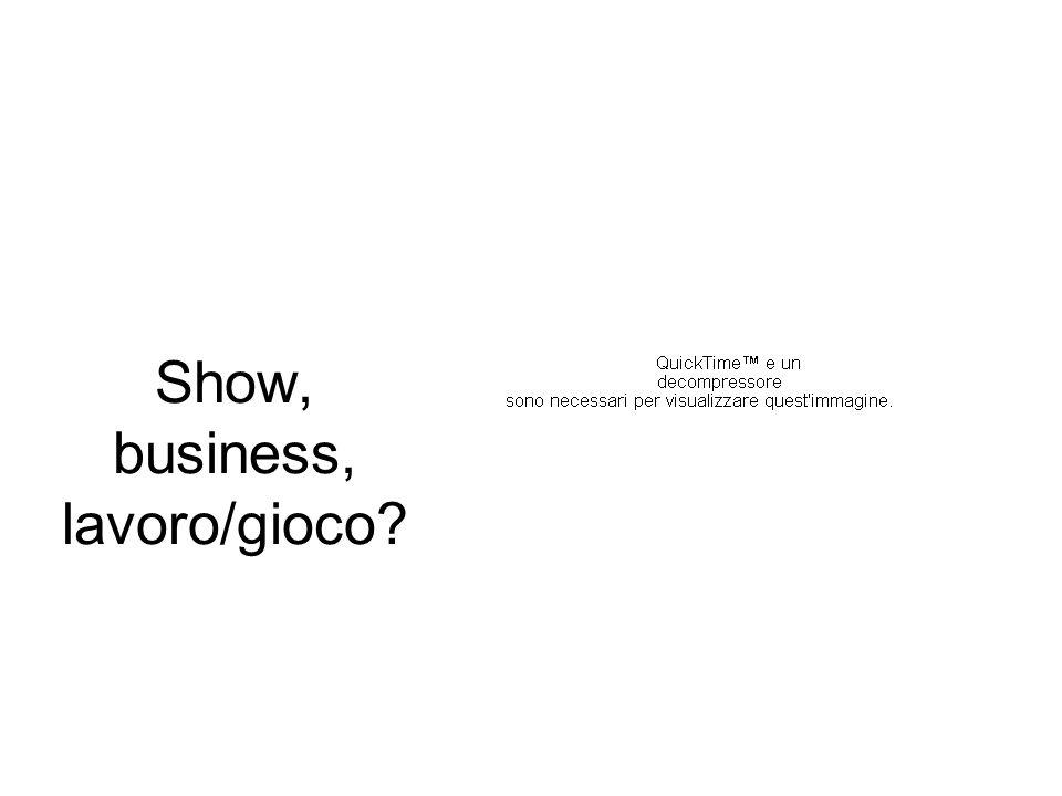 Show, business, lavoro/gioco?