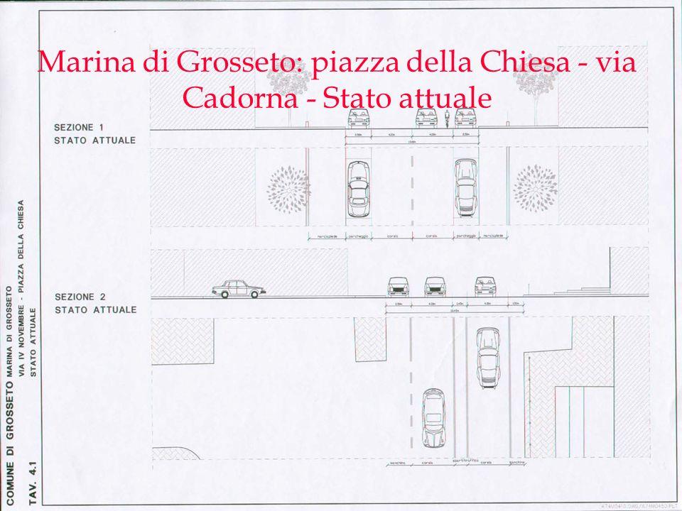Marina di Grosseto: piazza della Chiesa - via Cadorna - Stato attuale