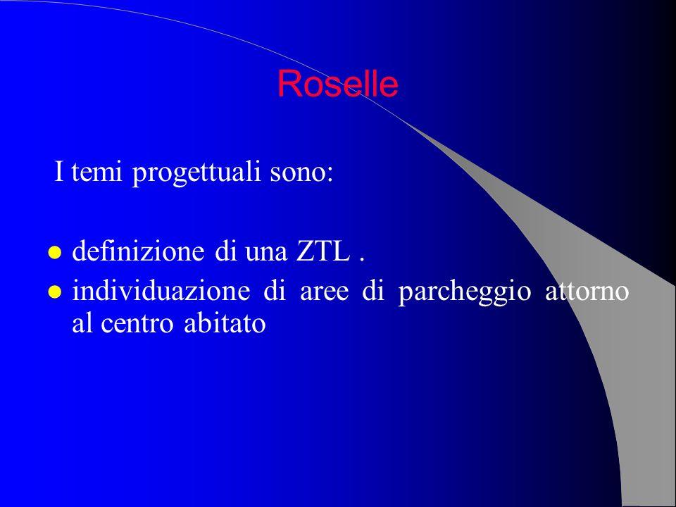 I temi progettuali sono: l definizione di una ZTL. l individuazione di aree di parcheggio attorno al centro abitato Roselle