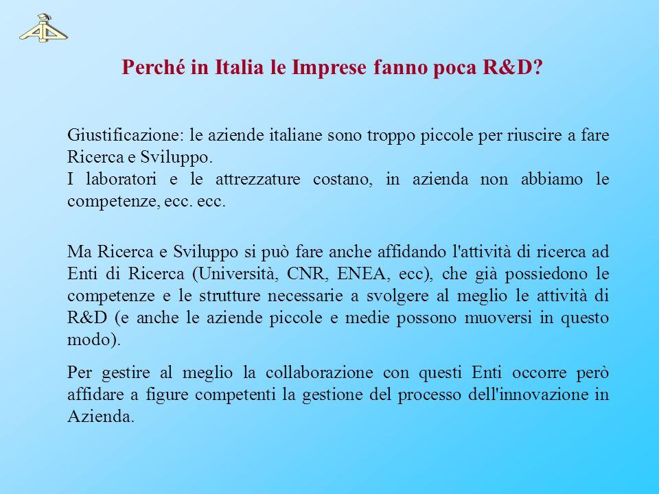 Giustificazione: le aziende italiane sono troppo piccole per riuscire a fare Ricerca e Sviluppo. I laboratori e le attrezzature costano, in azienda no