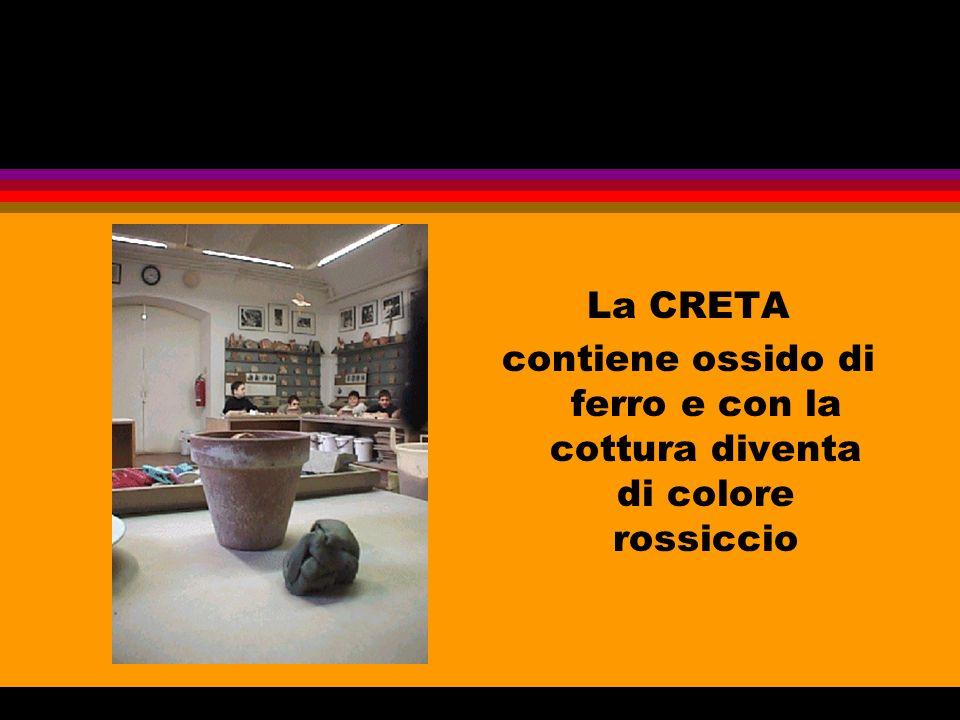 La CRETA contiene ossido di ferro e con la cottura diventa di colore rossiccio