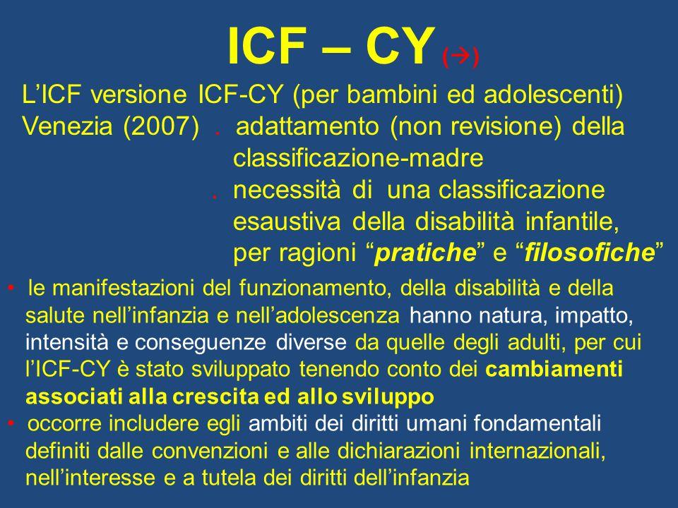 ICF – CY ( ) LICF versione ICF-CY (per bambini ed adolescenti) Venezia (2007).