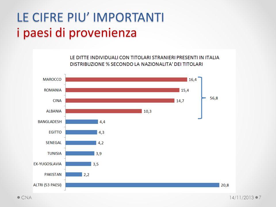 LE CIFRE PIU IMPORTANTI i paesi di provenienza 14/11/2013CNA7