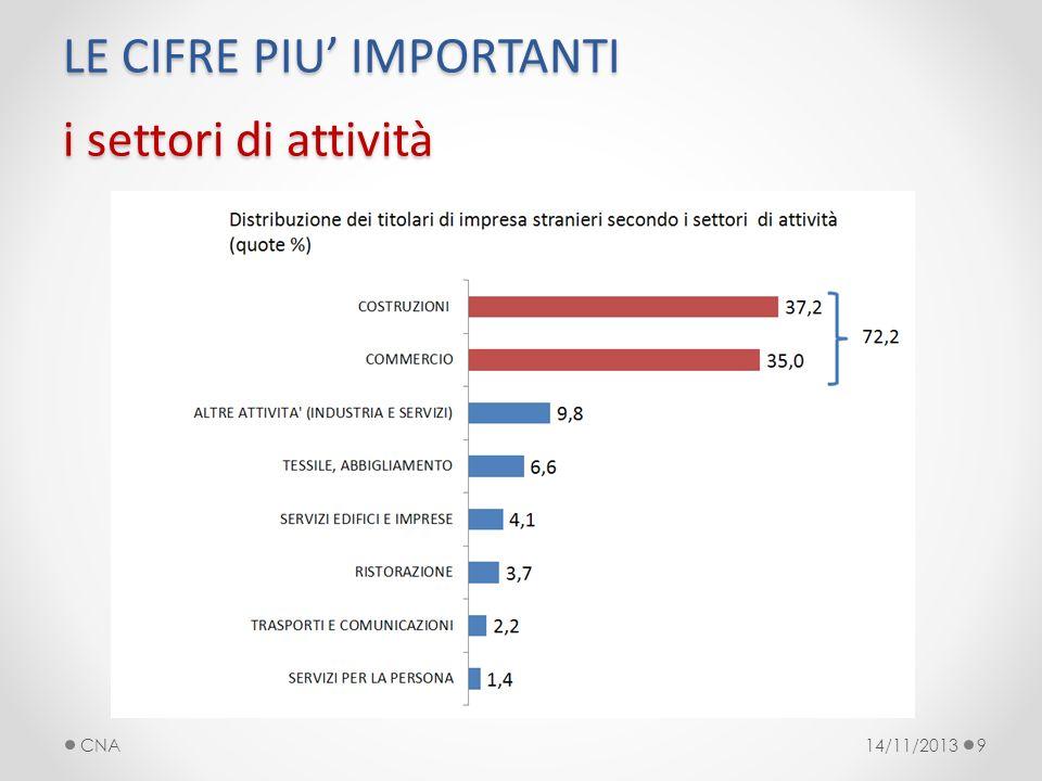 LE CIFRE PIU IMPORTANTI i settori di attività 14/11/2013CNA9