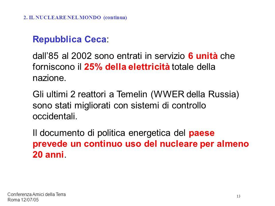 13 Conferenza Amici della Terra Roma 12/07/05 Repubblica Ceca: dall85 al 2002 sono entrati in servizio 6 unità che forniscono il 25% della elettricità totale della nazione.
