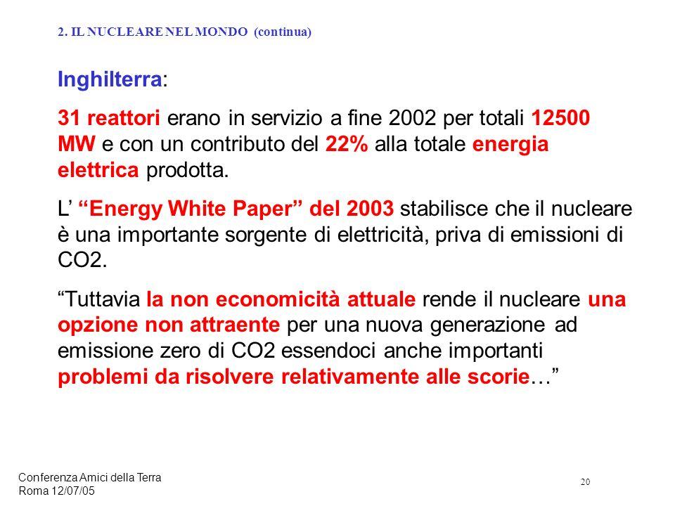 20 Conferenza Amici della Terra Roma 12/07/05 Inghilterra: 31 reattori erano in servizio a fine 2002 per totali 12500 MW e con un contributo del 22% alla totale energia elettrica prodotta.