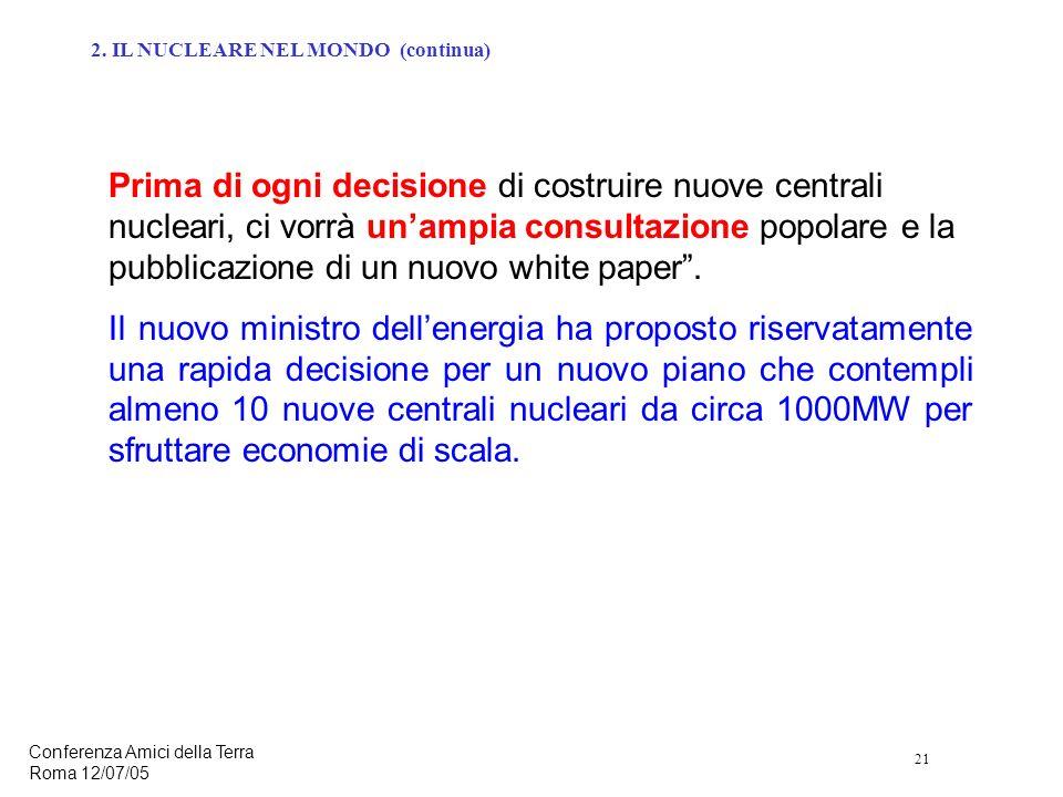 21 Conferenza Amici della Terra Roma 12/07/05 Prima di ogni decisione di costruire nuove centrali nucleari, ci vorrà unampia consultazione popolare e la pubblicazione di un nuovo white paper.