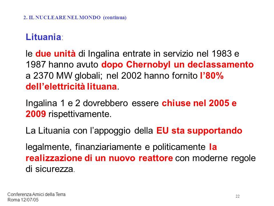 22 Conferenza Amici della Terra Roma 12/07/05 Lituania : le due unità di Ingalina entrate in servizio nel 1983 e 1987 hanno avuto dopo Chernobyl un declassamento a 2370 MW globali; nel 2002 hanno fornito l80% dellelettricità lituana.