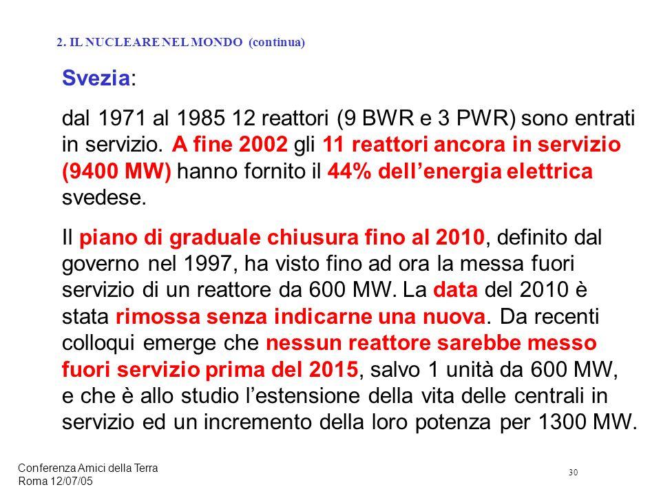 30 Conferenza Amici della Terra Roma 12/07/05 Svezia: dal 1971 al 1985 12 reattori (9 BWR e 3 PWR) sono entrati in servizio.